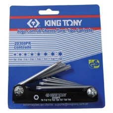 20308PR Chave Torx Tipo Canivete 8PCS T9 T40 King
